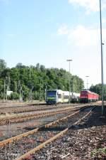 Agilis/151392/vt650-716-neben-232-472-1- VT650 716 neben 232 472-1 + 618-9 + 233 698-0 abgestellt in Marktredwitz. 23.07.11