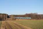 arriva-landerbahn-express-alex/533770/223-067-und-223-065-mit 223 067 und 223 065 mit dem ALX84115 Hof - München bei Oberteich. 30.12.16